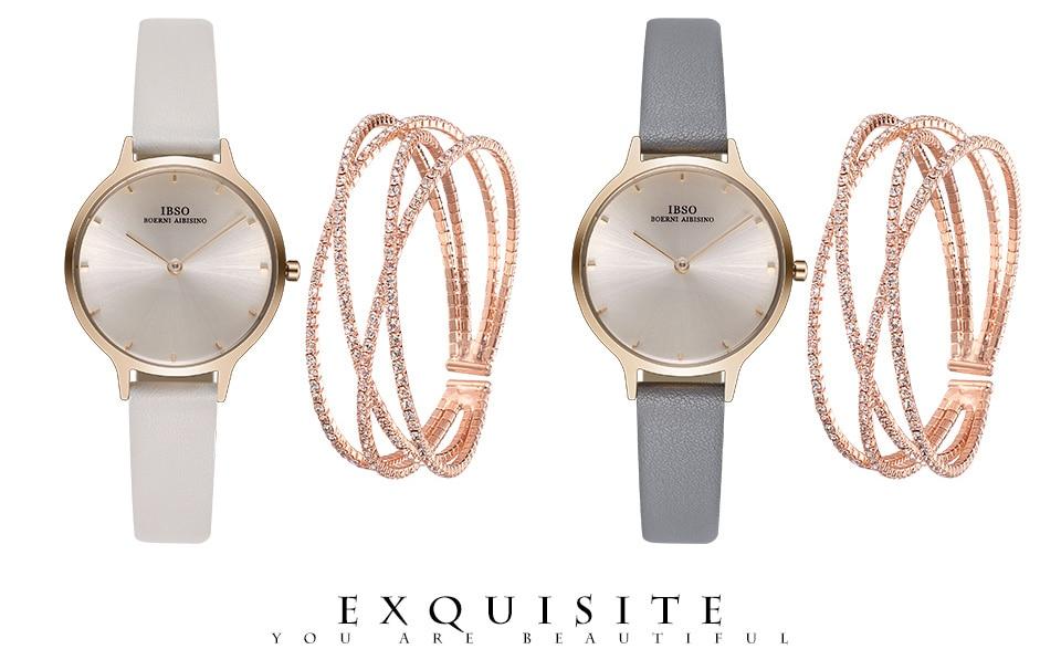 Ibso cristal pulseira relógios definir feminino de