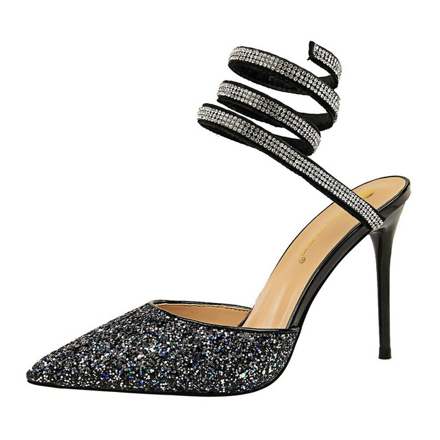 POADISFOO Style Sexy Nightclub Shoes With high-heeled Shallow Mouth Pointed  Sparkle Sequins Feet With Sandals DS-283-9 c8e908d536ed