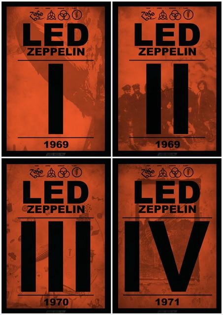 Led Zeooelin Concert Rock Music Poster Classic Retro Vintage Kraft Decorative DIY Wall Canvas Sticker Home Bar Posters Decoratio