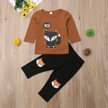 2019 Fox Printing Leisure Children's Suit 2-piece Children's Clothing baby boy clothes  kids clothes 2019 new boy clothes shirt sweater baby clothes fashion trousers kids vest trousers three piece suit baby leisure kids clothing