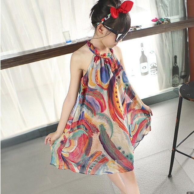2016 girls beach summer dress girl flower print dresses casual sleeveless chiffon flower printed beach dress children clothing