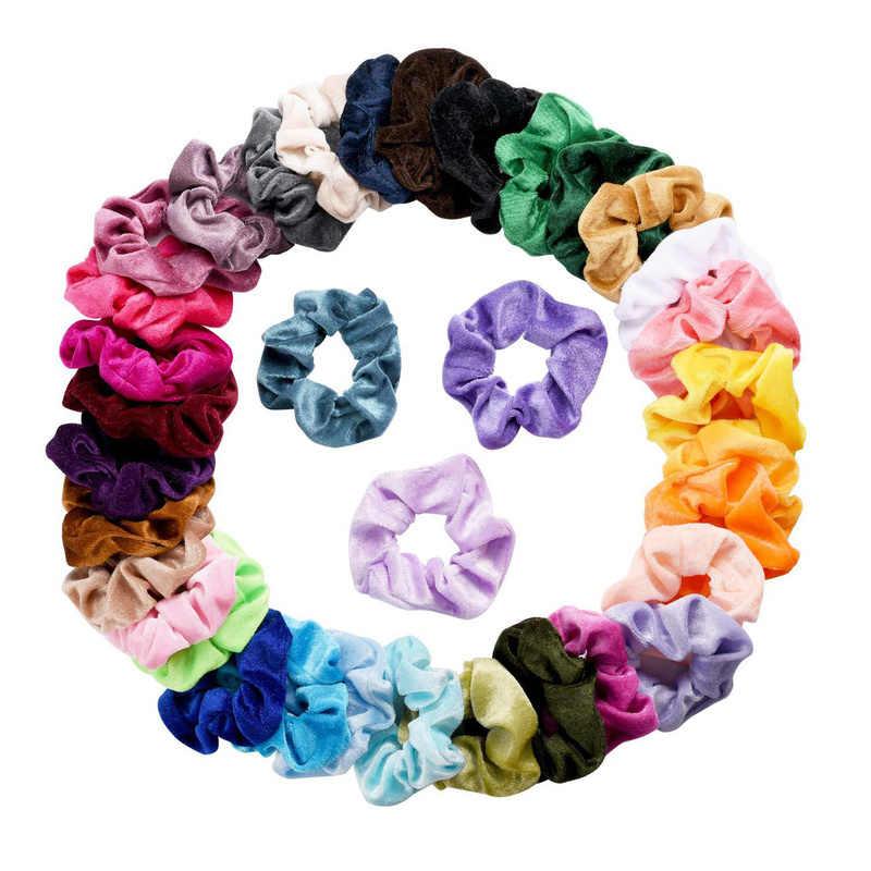 10 Pcs/lot Soft Chiffon Velvet Satin Hair Scrunchie Floral Grip Loop Holder Stretchy Hair Band Leopard Women Gumki Do Wlosow