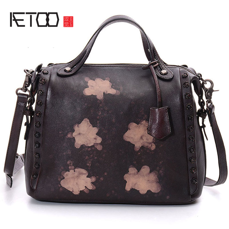 AETOO Europe and the United States retro handbags, hand rub color,  single shoulder oblique cross lady handbags europe and the united states new handsome british wind pointed thick boots snake belt buckle especially exquisite single boot