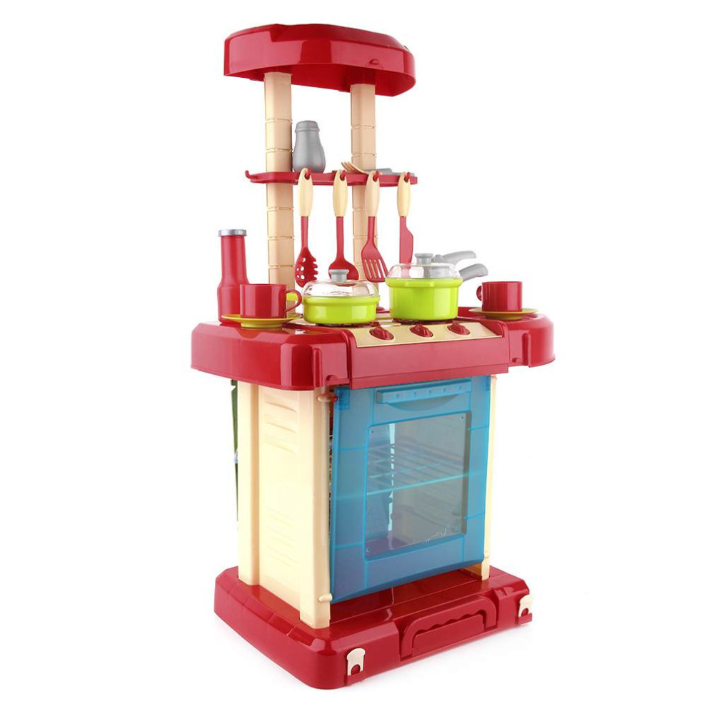 Multifunction Children Play Toy Girl Baby Toy Large Kitchen Cooking Simulation Table Model Utensils girls toys for Birthday Gift huile toys 3108 baby toys traveling picnic cooking suitcase toy included stove utensils plates toy meal bacon and eggs