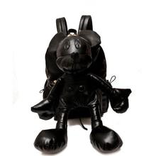 Neue Frauen pu-leder schwarz cartoon mickey mouse qualität rucksack nette reizende mädchen damen daypack Mädchen Tasche minnie Rucksack
