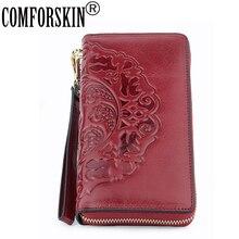 COMFORSKIN portefeuille en cuir véritable pour femmes, Long et Vintage, avec pampilles, gaufrage Floral, corde, sac à main avec fermeture éclair