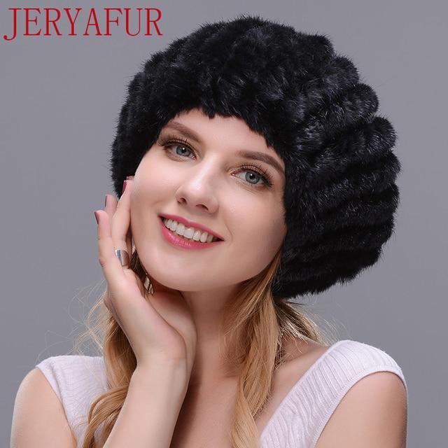 JERYAFUR True natural mink fur beret hat winter woman s ski hat oversized  fox fur ball black 34c65a5a747d