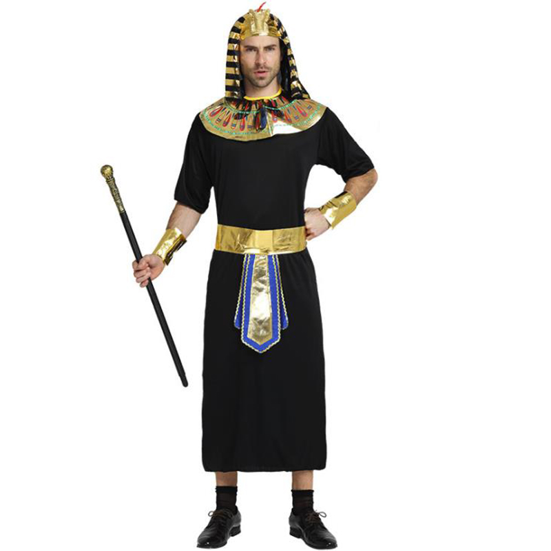 Adult Men Glod Egyptian Pharaoh Tutankhamun King Costume for Man Halloween Party Costumes Traditional Egypt Egyptian Cosplay