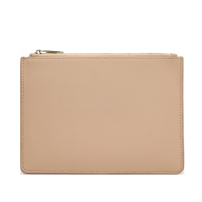 Monogrammed Ladies Customized Initial Letters Genuine Saffiano Leather Pouch Women Clutch Bag With Card Slots
