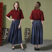 Autumn new arrival long skirts elastic waist plus size denim woman length pleated for girl 1028