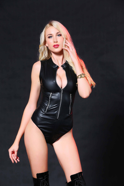 407dda7cd96 Sleeveless Women Sexy Bodysuit Wet Look Open Zipper Leotard Faux Leather  Short Catsuit Catwoman Party Clubwear Costume