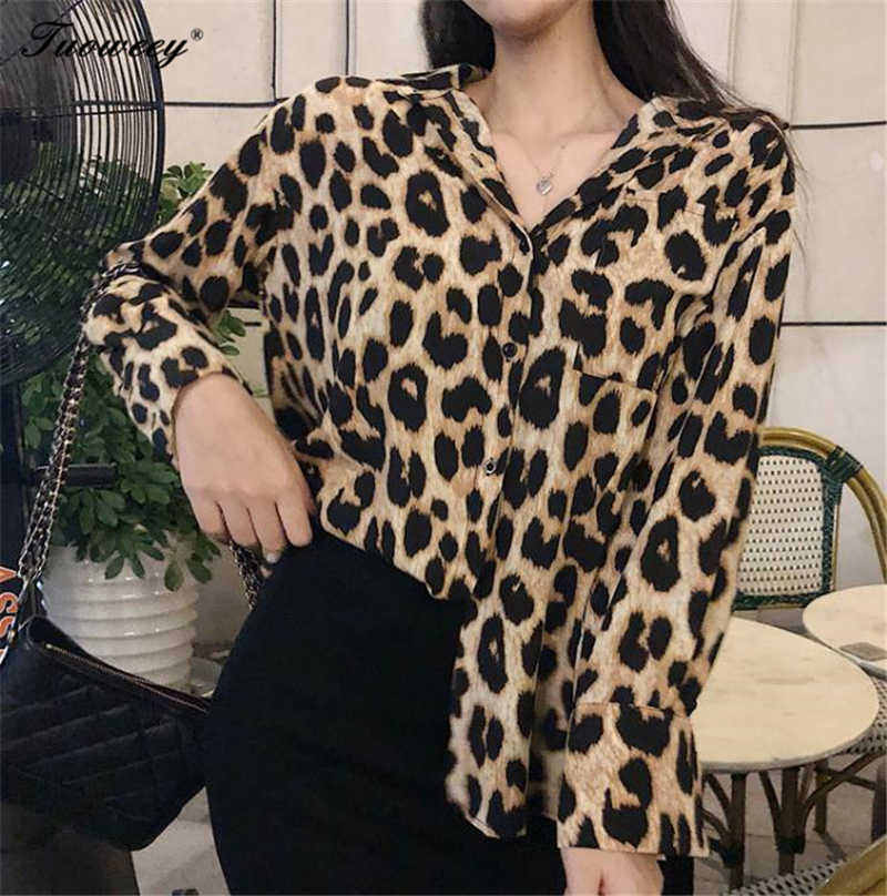 bcf1a2e783 2018 Women sexy Blouse Leopard Print Shirt Long sleeve Turn-down Collar Top  Loose Blouses