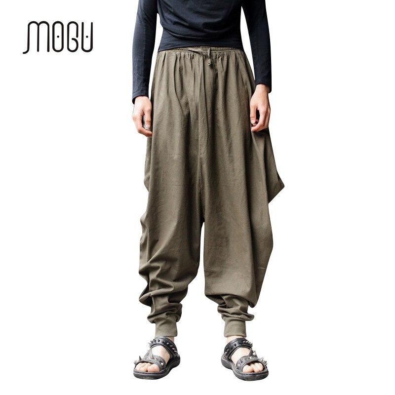 New Novelty Street Wear Pants Men Vintage Original Design Drop Crotch Pants  Men Cotton Linen Harem