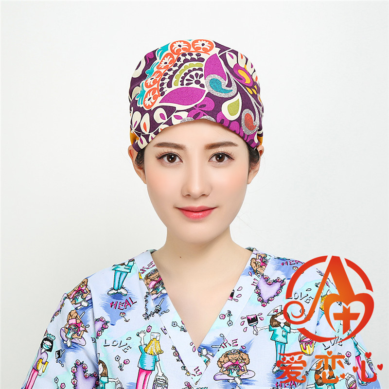 Inventive New Pet Shop Veterinary Surgical Cap Dog Print For Women And Men Sweatband Forhead Tieback Elastic 100% Cotton Medical Work Hats