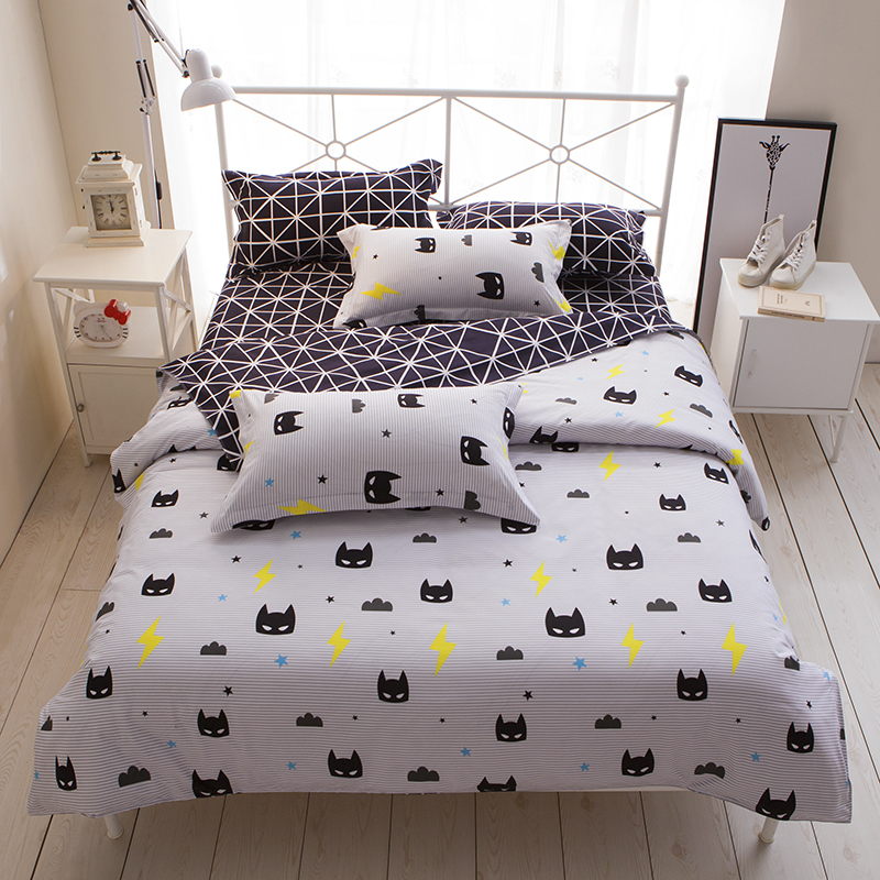 Cartoon Stripe Batman 3 4pcs Bedding Sets Bed Set Bedclothes For Kids