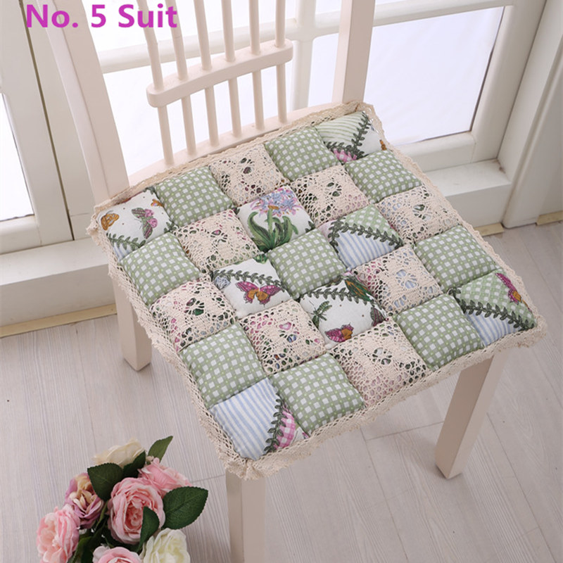Pastoral Style Seat Cushion Thick Sofa Seat Mat Cute Hollow Out Lace Edge Chair Decor Office Cushion Pad Bay Window Seat Cushion
