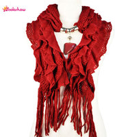 Women Winter Warm Waved Shaped Pendant Jewelry Necklace Scarf 13 Colors NL 1932