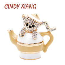 CINDY XIANG New Arrival Design Rhinestone Teapot And Cat Brooches For Women Cute Animal Pins Kitty Jewelry Interesting Kids Gift