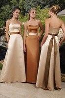 Free Shipping Elegant Designer 2017 Elegant A Line Strapless Satin Champagne Bridesmaid Dresses