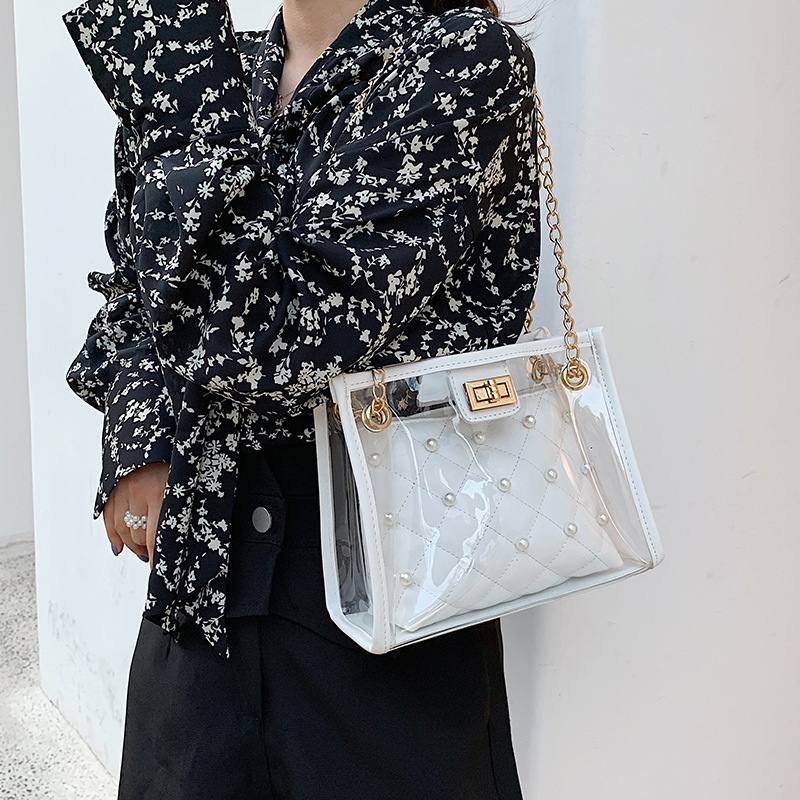 Summer Transparent Jelly Pearl Crossbody Bags For Women 2019 Quality PVC Luxury Handbag Designer Ladies Beach Clear Shoulder Bag in Shoulder Bags from Luggage Bags