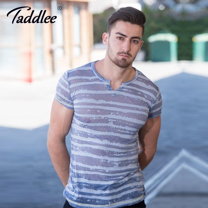 Taddlee מותג סקסי גברים חולצות טריקו טיז - בגדי גברים