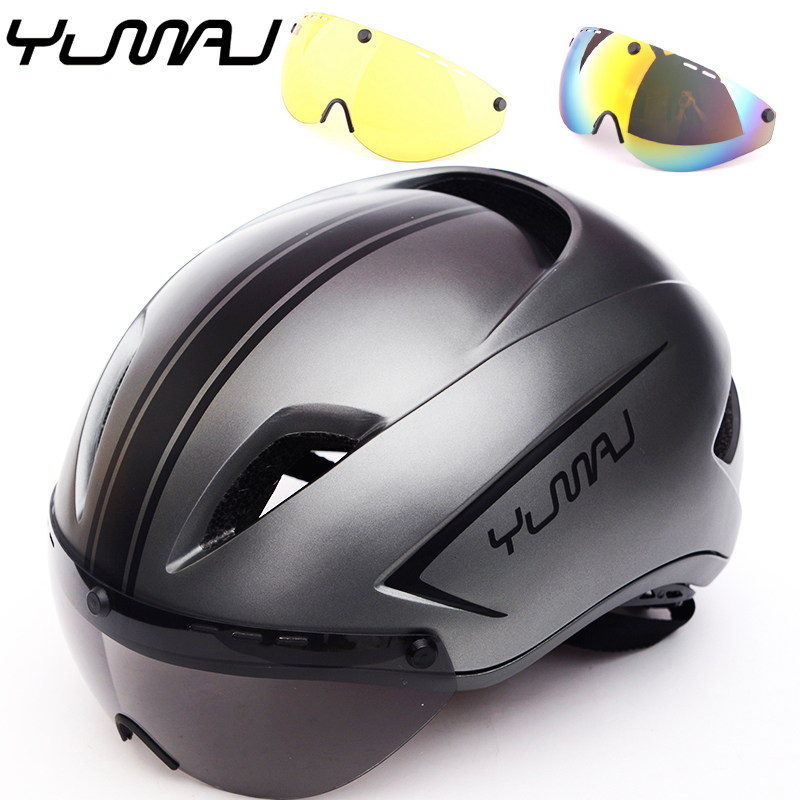 3 lens New Aero TT Road Bicycle Helmet Magnetic Goggle Racing Cycling Bike Sports Safety Helmet TT Timed Road Bike Helmet Lens cycling helmet magnetic goggles mountain road bike bicycle helmet safety mtb helmet polarized sunglasses lens