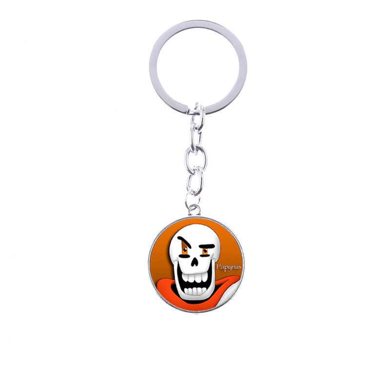 SONGDA Fashion Papyrus Skeleton Keychain Undertale Game Series Zinc Alloy  Key Ring Purse Bag Pendant Car Key Chain Charm Gifts