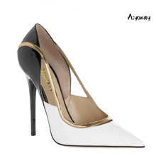 цена на Aiyoway Women Shoes Ladies Pointed Toe High Heels Pumps Patchwork White&Black Slip-On Work Party Shoes Big Size Sexy Thin Heels