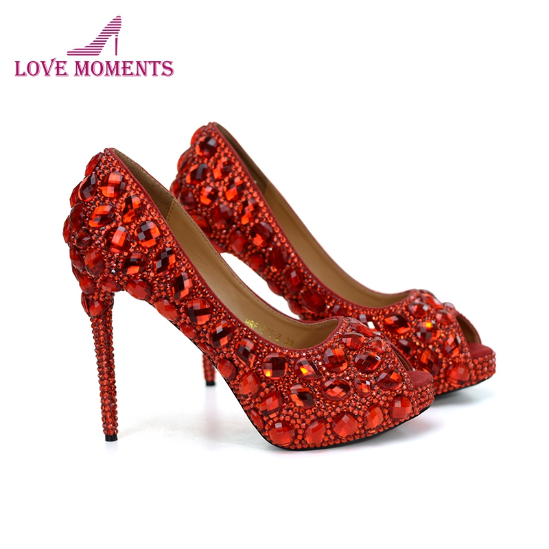 Special Price Promotion Red Rhinestone Wedding Shoes