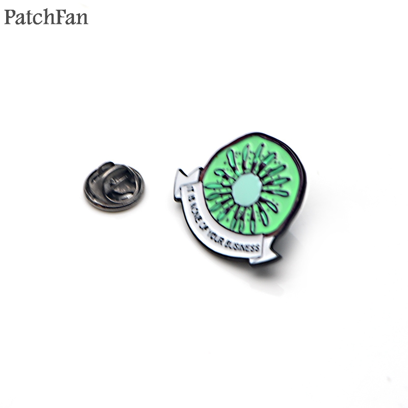 Patchfan Harry Styles kiwi letter it is none of your business Zinc Enamel pins para backpack shirt clothes brooches badges A1504 in Badges from Home Garden