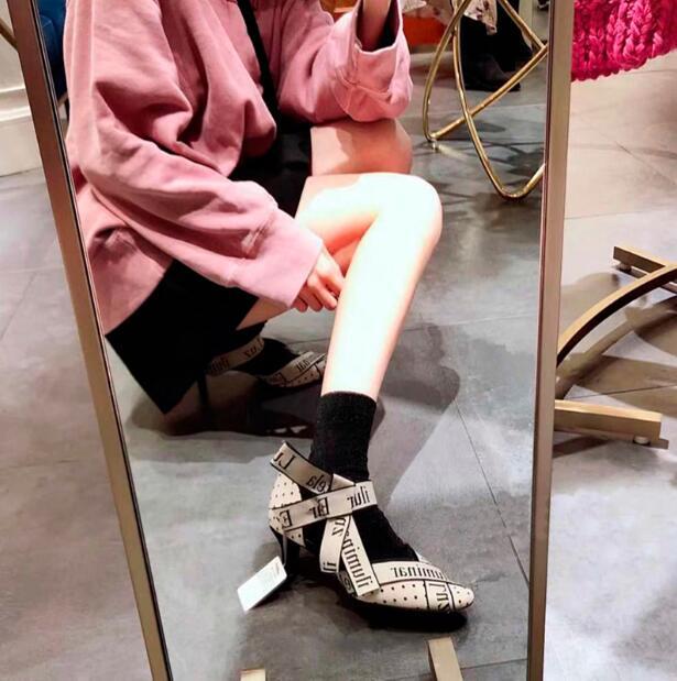2019 Sandalias De Moda Black High Heels Sexy Summer Buckle Mesh Letters Stiletto Bow knote Low Heel Sandal Women 39 s Shoes Party in Women 39 s Pumps from Shoes