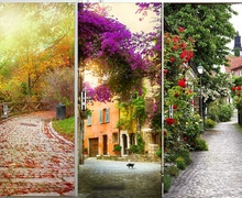 Autumn Leaves Stone Roads French Town Scenic Roses DIY 3D Door Sticker for Kids Room Door Home Decoration Accessories Large Size