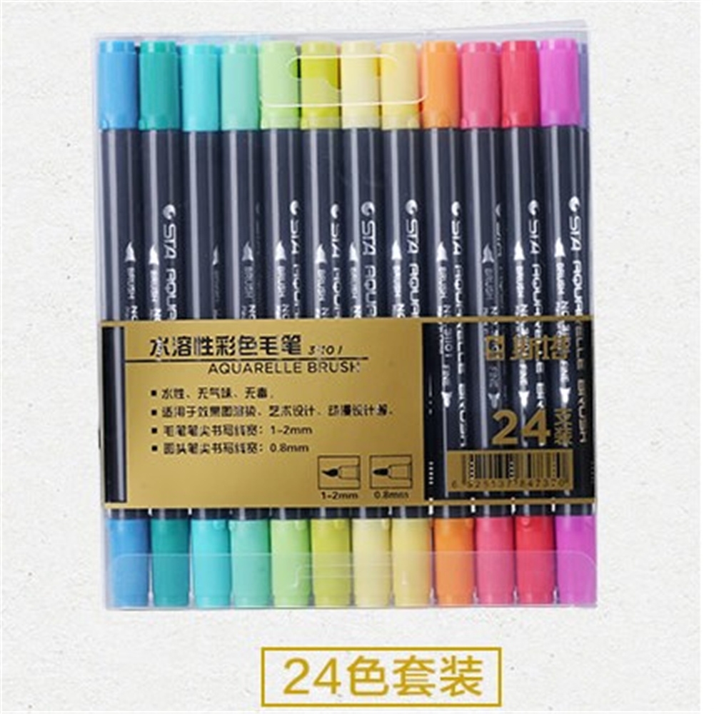 Double head Coloring Brush Pen 24 Color Set Flexible Brush Marker Water Color Pen Liquid- Ink Painting Supplies w110145 soft head fine water mark pen 48 60 color beginners painting professional equipment advanced ink student art suit