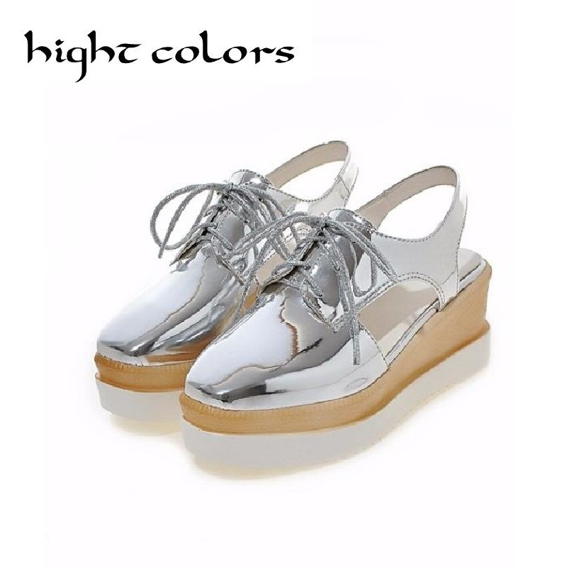 Fashion Gold +Sliver Lace Up Wedge Women Casual Shoes 2017 Summer Autumn Platform Wedge High Heels Gladiator Shoes Woman Size 43 phyanic 2017 gladiator sandals gold silver shoes woman summer platform wedges glitters creepers casual women shoes phy3323