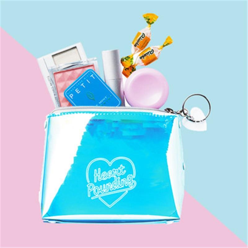 Women Portable Letter Print Laser Transparent PVC Cosmetic Bag Travel Storage Pouch Makeup Bags 11