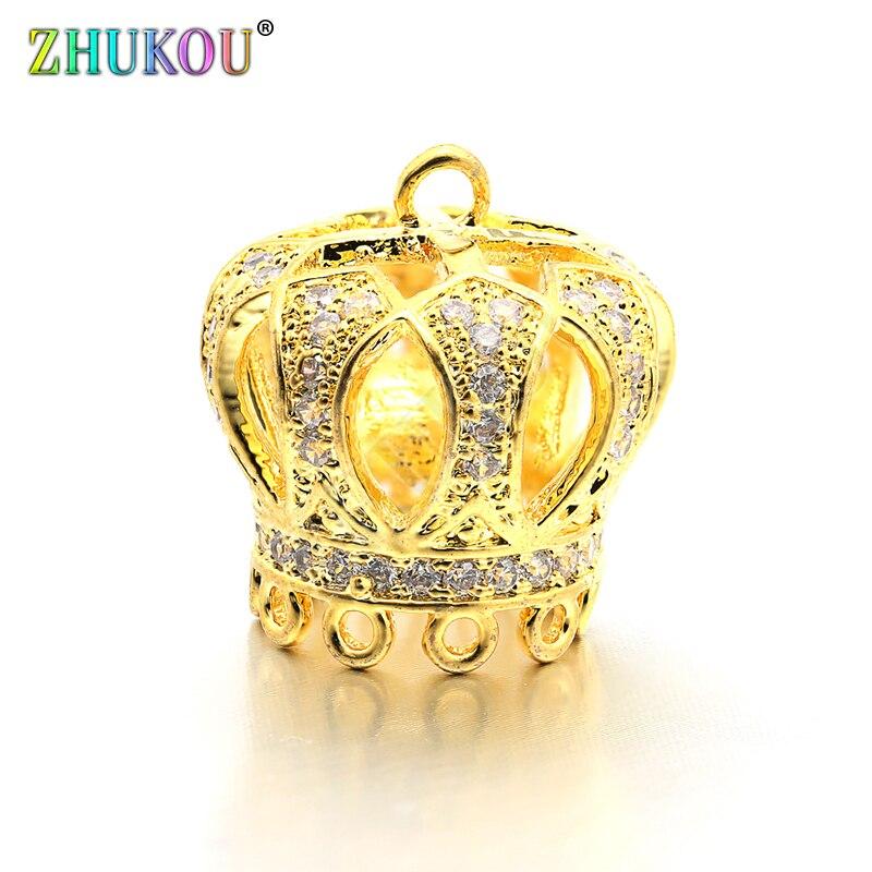 15*16mm High Quality Brass Micro Pave Zircon Crown Tassel Cap Pendant Charms, Hole: 1.5mm, Model: VM18