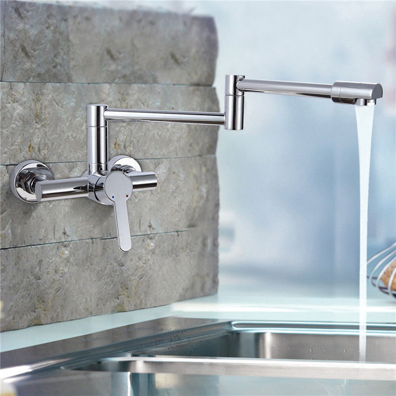kitchen sink faucet all copper plating dish basin cold and hot heat sink mixer faucet 360 degree wall mounted chrome