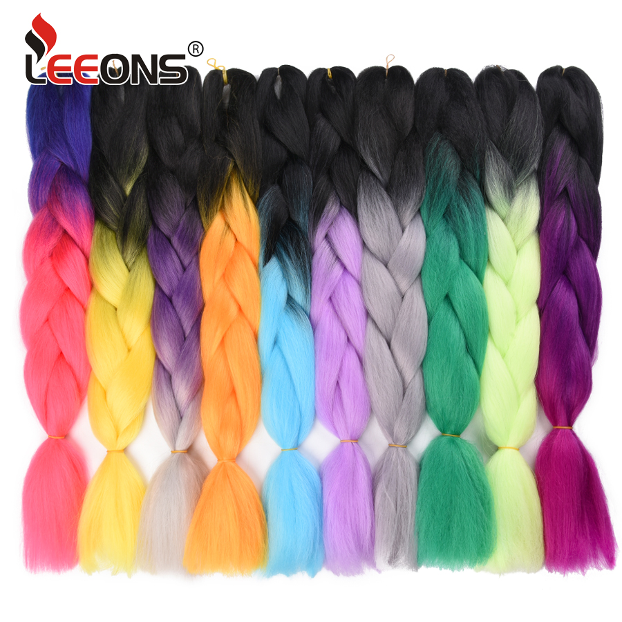 Leeons Purple Pink Blue Jumbo Braid Synthetic Ombre Braiding Hair Extensions 24inch 100g/Pack Long Jumbo Braids Crochet Hair