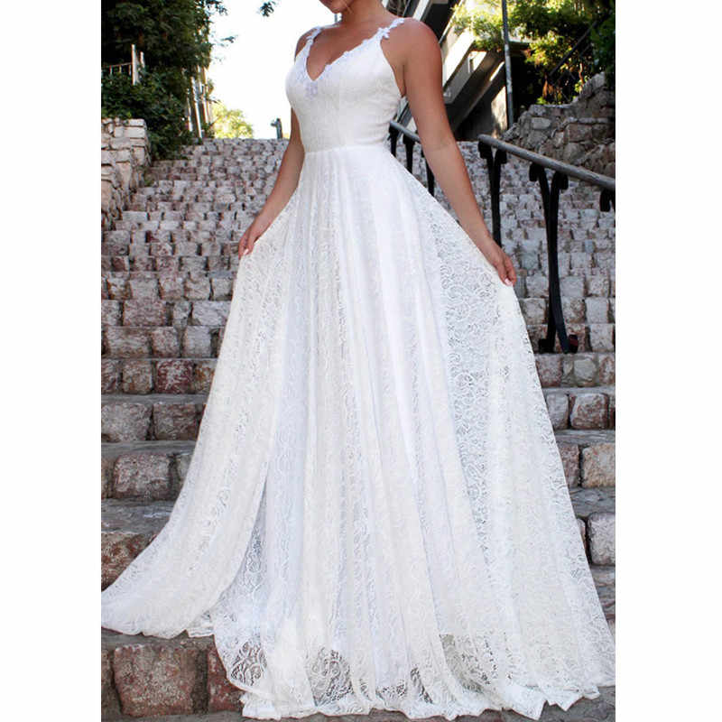 Backless Lace Long Dress Bohemian Summer Beach White Party