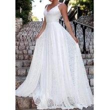 Vestido largo de encaje con espalda descubierta, blanco, bohemio, para fiesta en la playa, sukienki na, westele, damskie, W3