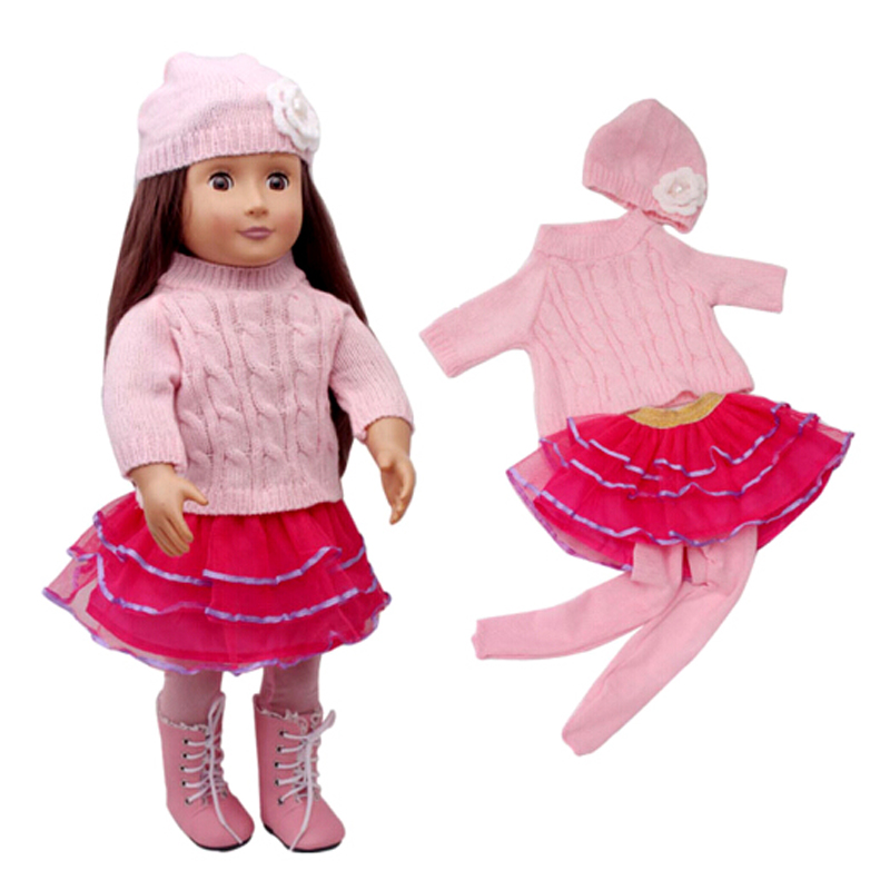 4 in 1 18 inch doll Pink clothes set sweater + hat +skirt + legging for 43cm zapf baby born dolls dress set best birthdays sets american girl doll clothes for 18 inch dolls beautiful toy dresses outfit set fashion dolls clothes doll accessories