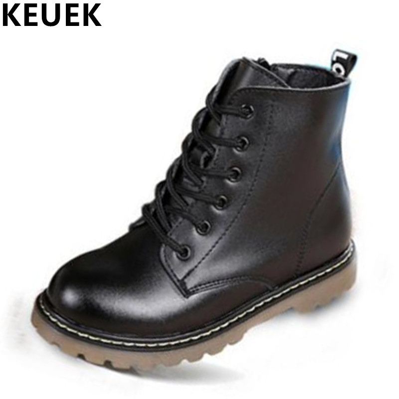 Top Selling Genuine leather Military Motorcycle boots Children shoes Snow Boots Slip resistant Boys Girls Ankle Martin boots 03B