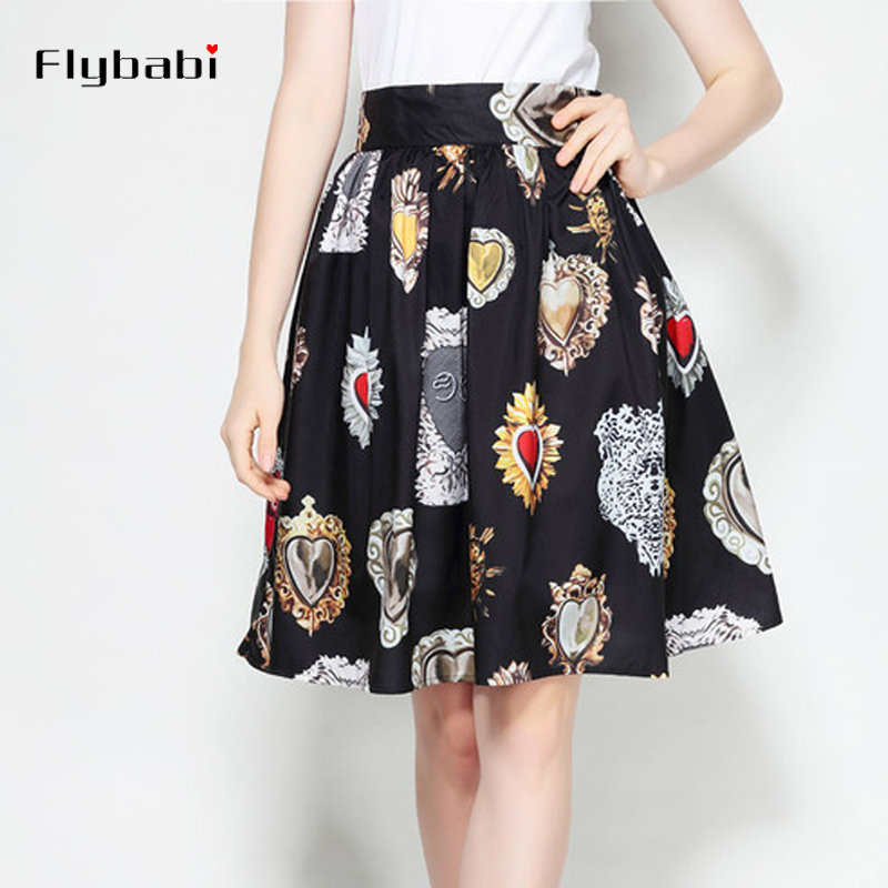 2018 Runway Custom Summer Half Skirt Women's heart Print Thin Section Cotton Knee Length Skirts Wild Vintag casual A Line Skirts