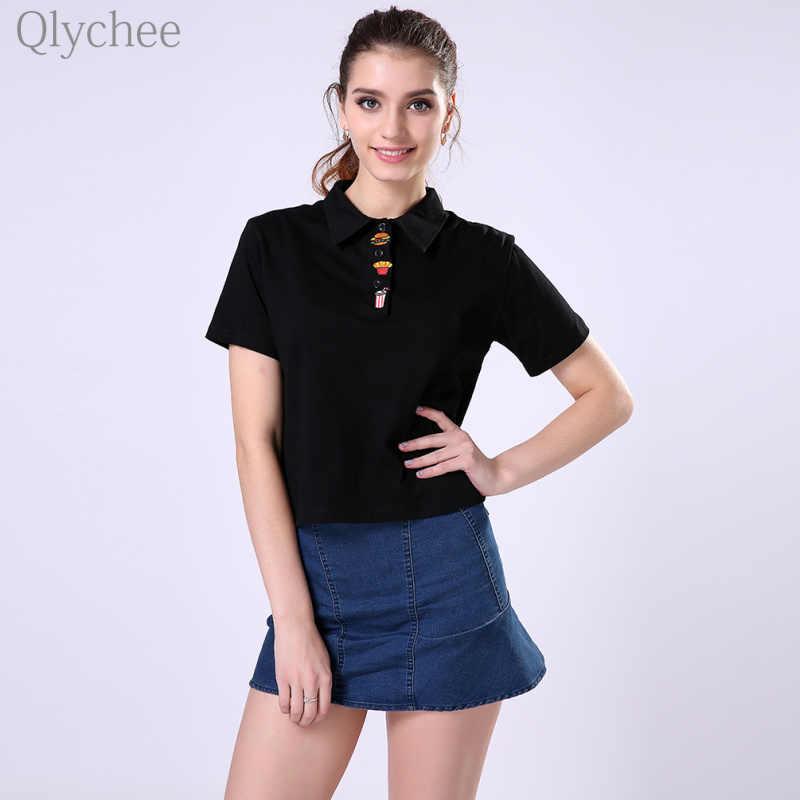 Qlychee 原宿女性シャツハンバーガーフライ刺繍ターンダウン襟コットンシャツ