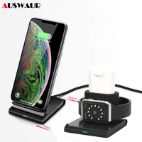 QI Fast Wireless Charger Stand for iPhone X XS XR Stand Charger Holder Cradle for Apple Watch Series iWatch 1 2 3 4 Airpods