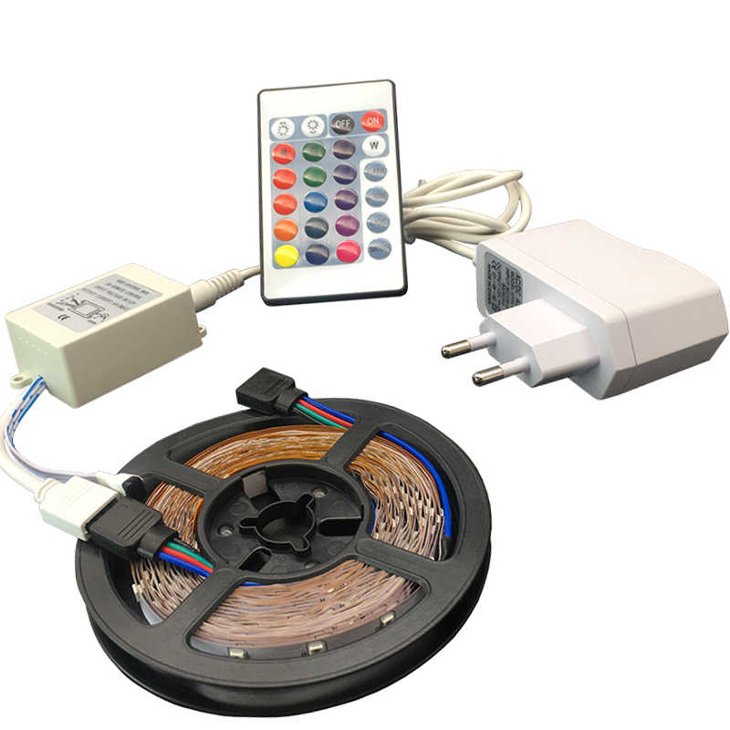 RGB 3528SMD taśma LED Light 5 m 60 diody LED/m DC12V jeden kolor elastyczne LED nie jest wodoodporny taśma 12 V 2A Adapter