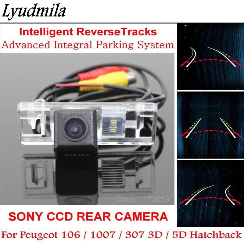 Lyudmila pour Peugeot 106/1007/307 3D/5D voiture à hayon sauvegarde arrière caméra de recul lignes de stationnement pistes intelligentes