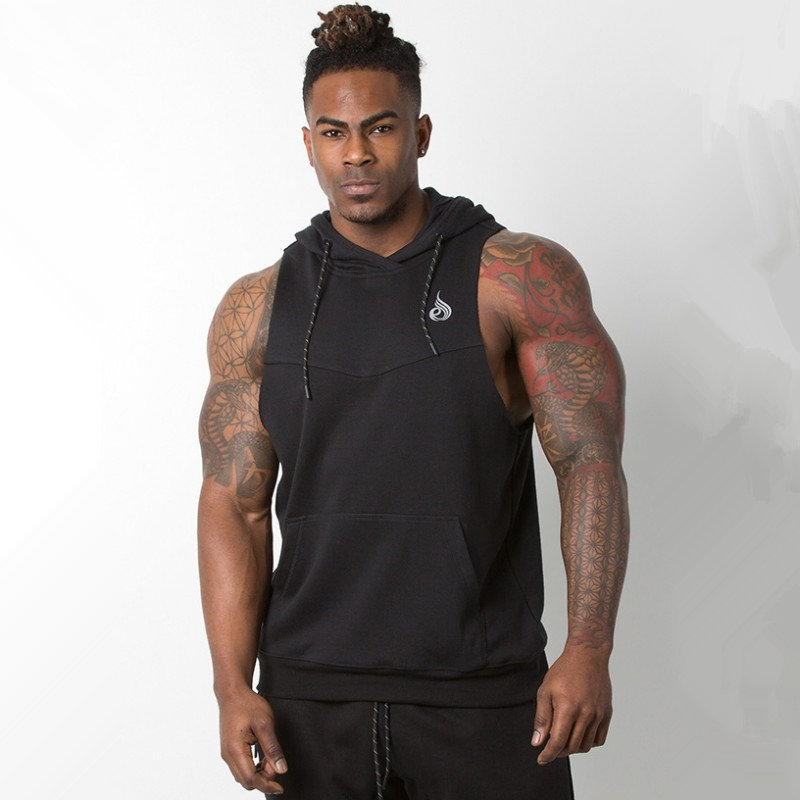 Men Bodybuilding sleeveless Hoodie Summer Gyms Fitness Workout Sweatshirt Cotton Hooded Vest Casual Tank top Crossfit Clothing