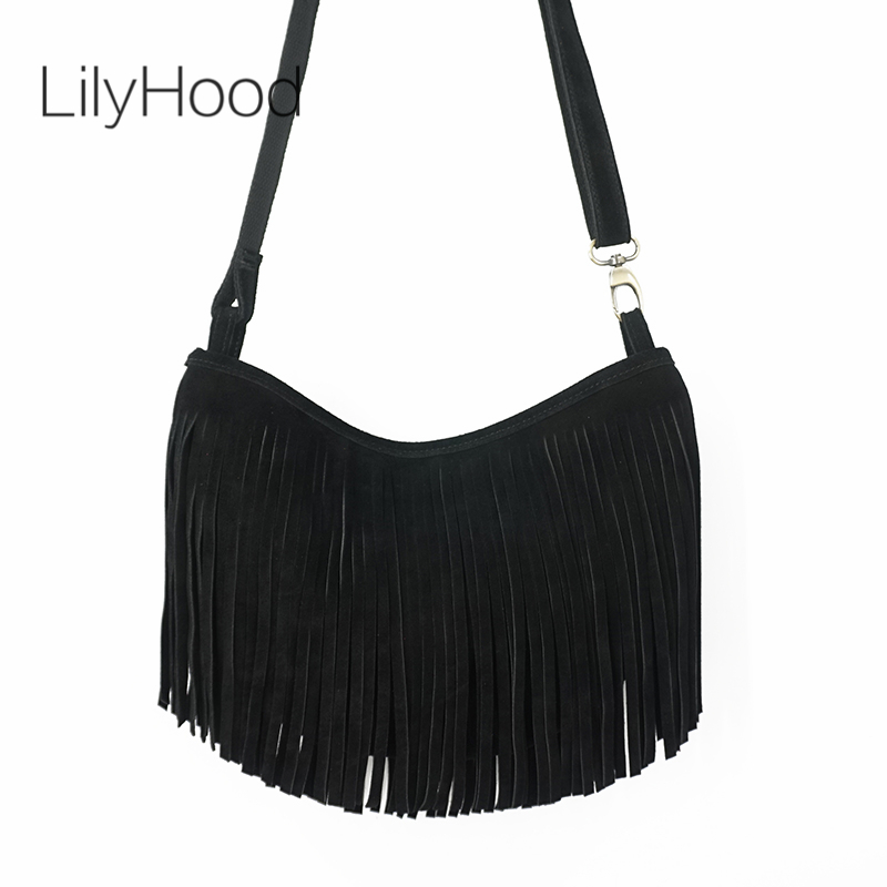 LilyHood2017 Women Genuine Leather Long Fringe Shoulder Bag Tassel Boho Hippie Gypsy Gothic Rock Music Feminine