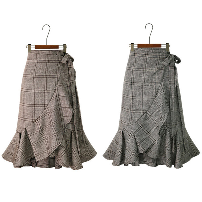 HDY Haoduoyi Women Plaid Skirts Pleated Hem Ruffles Korean Fashion Casual skirt Irregular Bottom Spring Summer Asymmetrical New 7